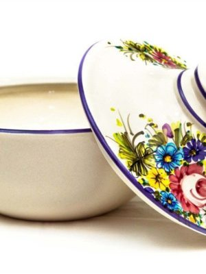 Ceramic biscuit bowl  with lid Fioraccio, Ceramiche Liberati