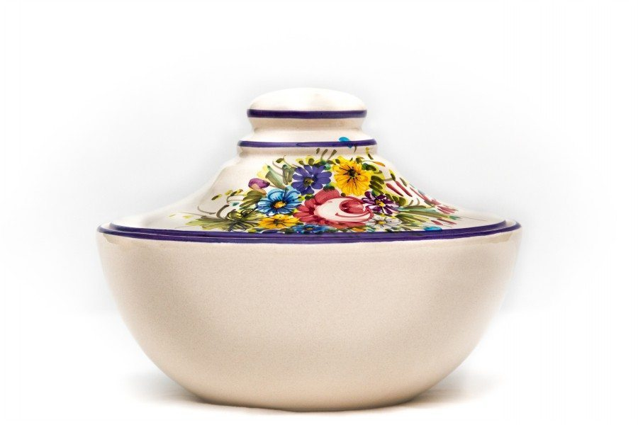 Biscottiera in ceramica con coperchio, fioraccio, Ceramiche Liberati