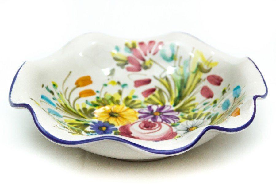 Ciotola in ceramica, bordo smerlato, fioraccio, Ceramiche Liberati