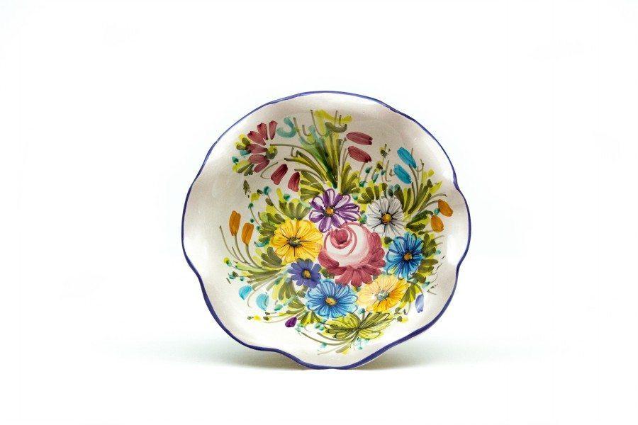 Ciotolina in ceramica, bordo smerlato, fioraccio, Ceramiche Liberati