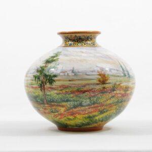 Vaso panciuto in ceramica, paesaggio, Ceramiche Liberati