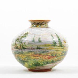 Vaso in ceramica abruzzese, paesaggio, Ceramiche Liberati