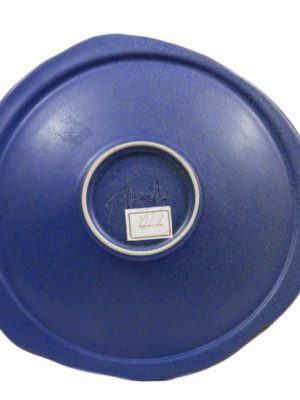 Centrotavola blu in gres, decorato e modellato a mano, Ceramiche Liberati