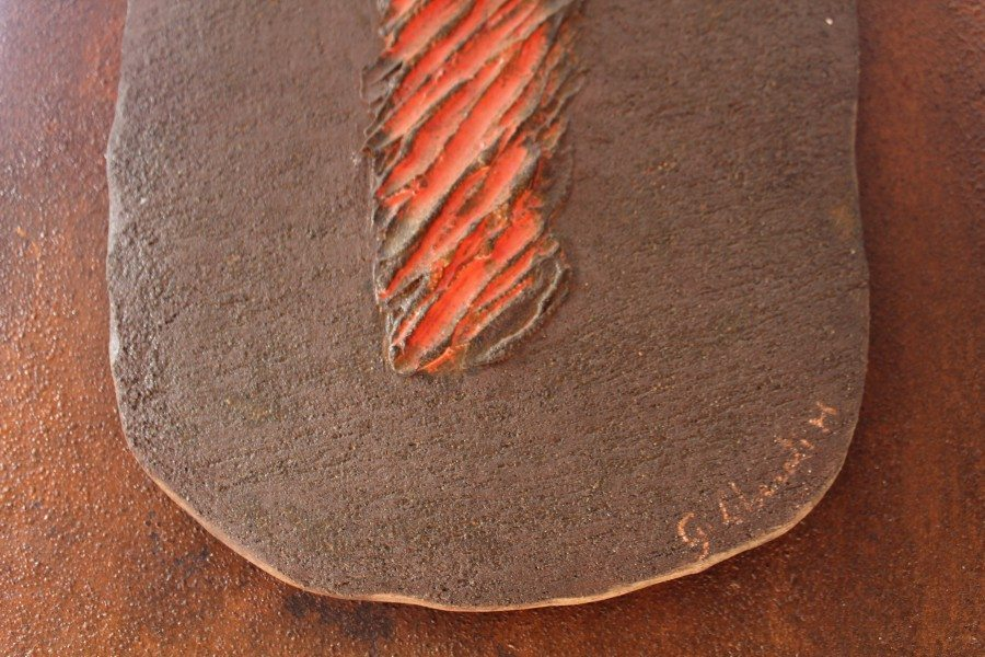Pannello in ceramica ferro e smalti, realizzato a mano, Ceramiche Liberati