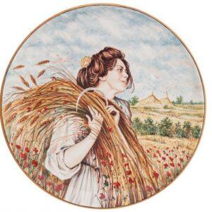 Piatto in ceramica maiolica, Mietitrice veneta, Ceramiche Liberati