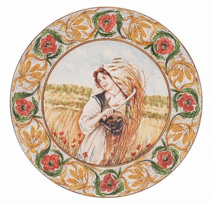 Piatto Mietitrice piemontese, in ceramica maiolica, Ceramiche Liberati