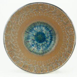 Centrotavola in ceramica refrattaria, refrattario, cristalli e platino, Ceramiche Liberati
