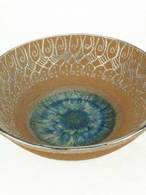 Centrotavola in ceramica, refrattario, cristalli e platino, Ceramiche Liberati