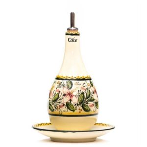 Oliera con piattino in ceramica decoro orchidea di Ceramiche Liberati, italia