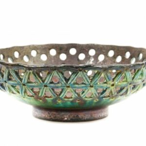 Centrotavola in ceramica raku, traforato, Ceramiche Liberati