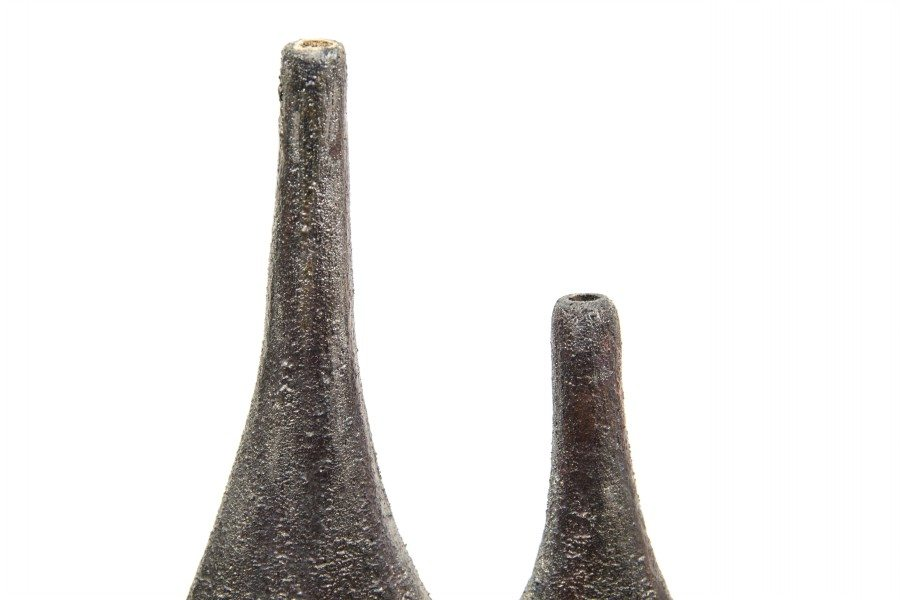 Bottiglia in ceramica raku, irregolare, Ceramiche Liberati