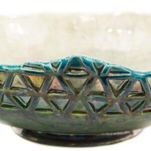 Centrotavola in ceramica raku, triangoli, Ceramiche Liberati