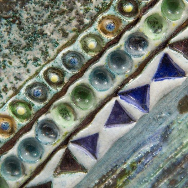 Pannello in ceramica raku su supporto di legno, Ceramiche Liberati