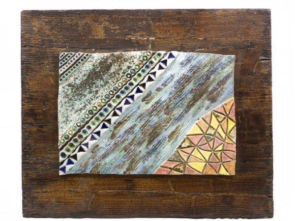 Pannello in ceramica moderna e contemporanea raku su supporto di legno, Ceramiche Liberati