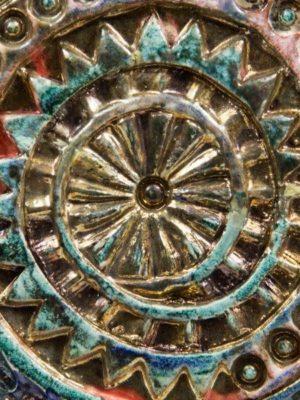 Pannello in ceramica raku, barocco moderno, Ceramiche Liberati