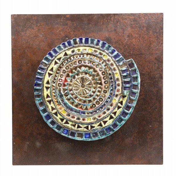 Pannello raku e ferro, barocco moderno, Ceramiche Liberati