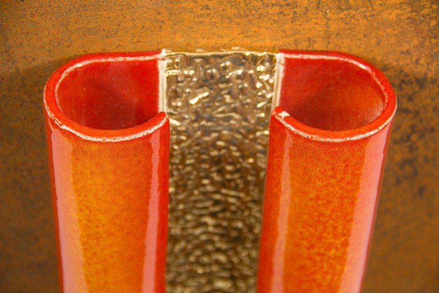 Pannello artistico in ceramica maiolica oro e ferro, Ceramiche Liberati