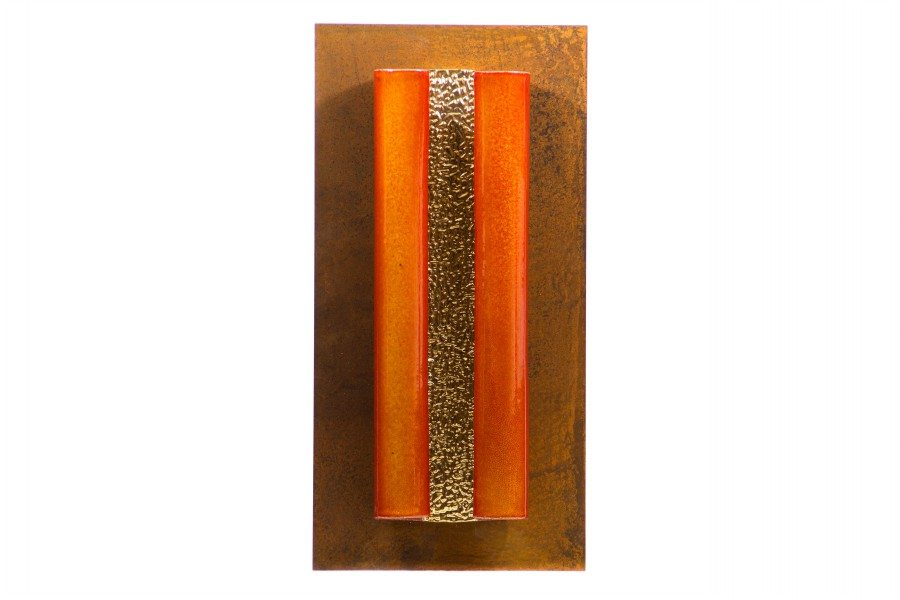 Pannello in ceramica maiolica oro e ferro, Ceramiche Liberati