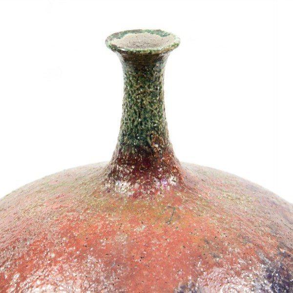 Bottiglia in ceramica raku panciuta, Ceramiche Liberati