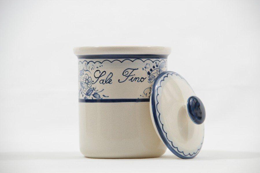 Barattolo in ceramica per sale fino, decoro Teate di Ceramiche Liberati