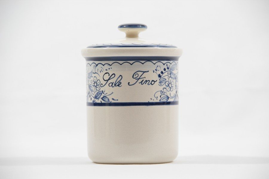 Ceramic salt jar, Teate blu decoration