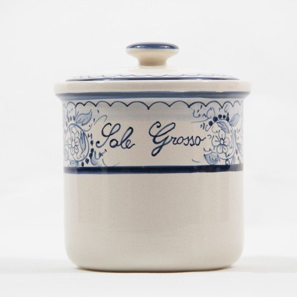 Barattolo in ceramica per sale grosso, decoro Teate di ceramiche Liberati