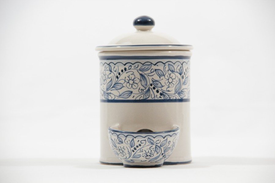Barattolo per sale con vaschetta incorporata in ceramica, Ceramiche Liberati