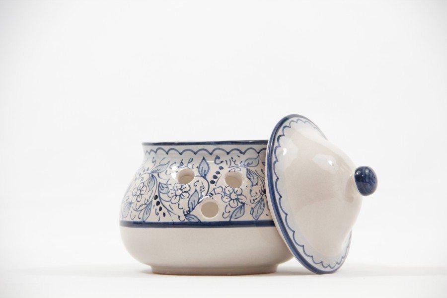 Contenitore per aglio in ceramica decoro teate, Ceramiche Liberati