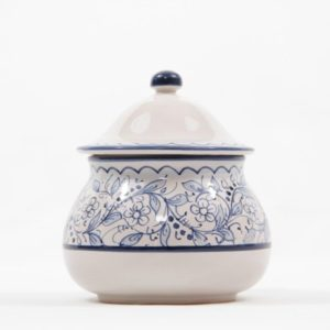 Ceramic garlic jar, hand-decorated with Teate decoration, Ceramiche Liberati, Villamagna, Italia.