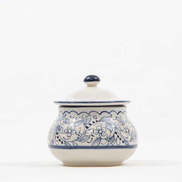 Barattolo in ceramica italiana perpeperoncino, realizzato e decorato a mano con decoro teate, Ceramiche Liberati, Abruzzo, Italia.