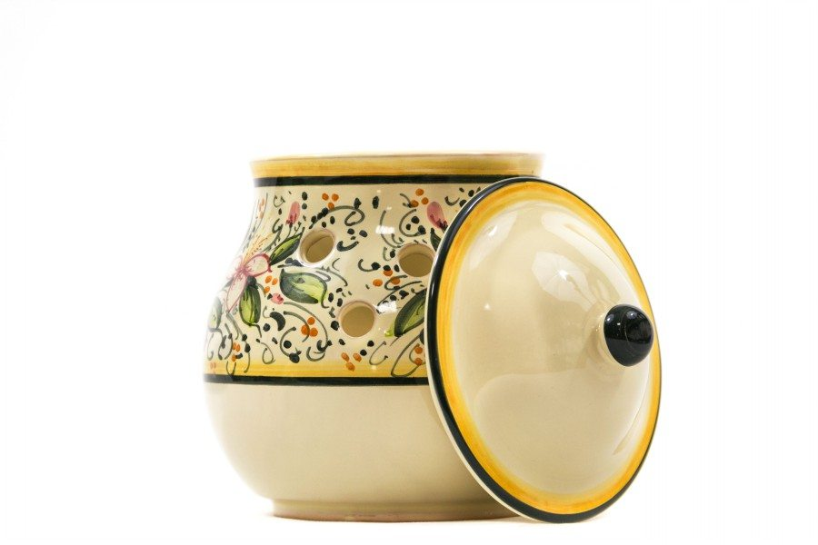 Barattolo portacipolla in ceramica orchidea, Ceramiche Liberati