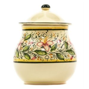 Ceramic onion jar with Orchidea decoration, Ceramiche Liberati