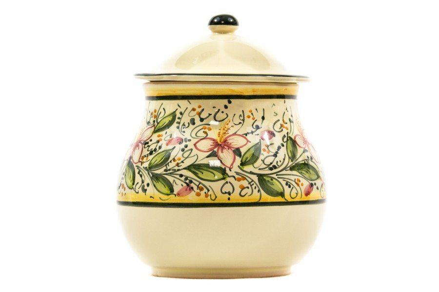 Barattolo in ceramica portacipolla orchidea, Ceramiche Liberati