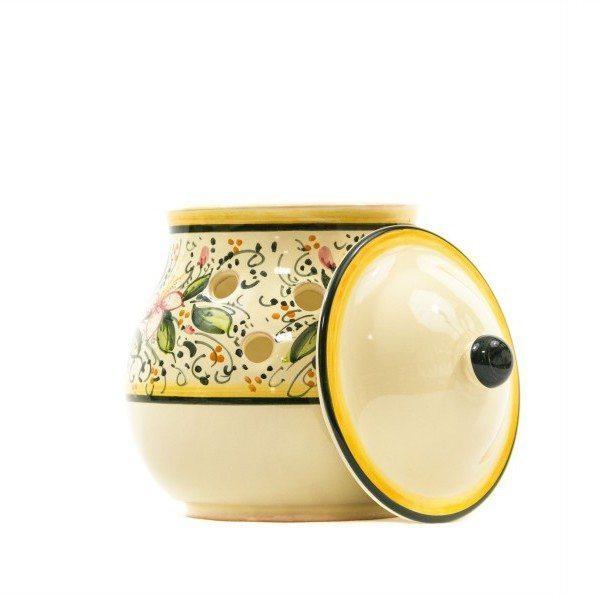 Contenitore per aglio in ceramica decoro orchidea, Ceramiche Liberati