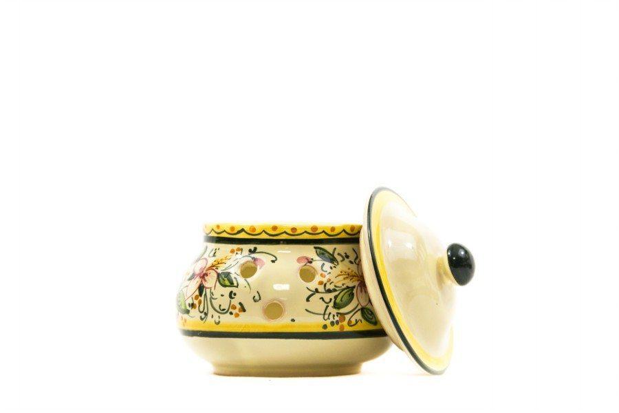 Barattolo in ceramica portapeperoncino orchidea, Ceramiche Liberati