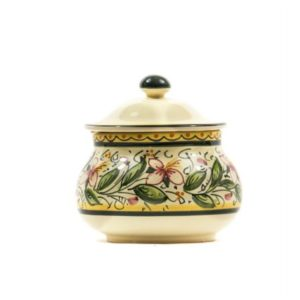 Ceramic chili jar, hand-decorated with Orchid decoration, Ceramiche Liberati, Villamagna, Italia.
