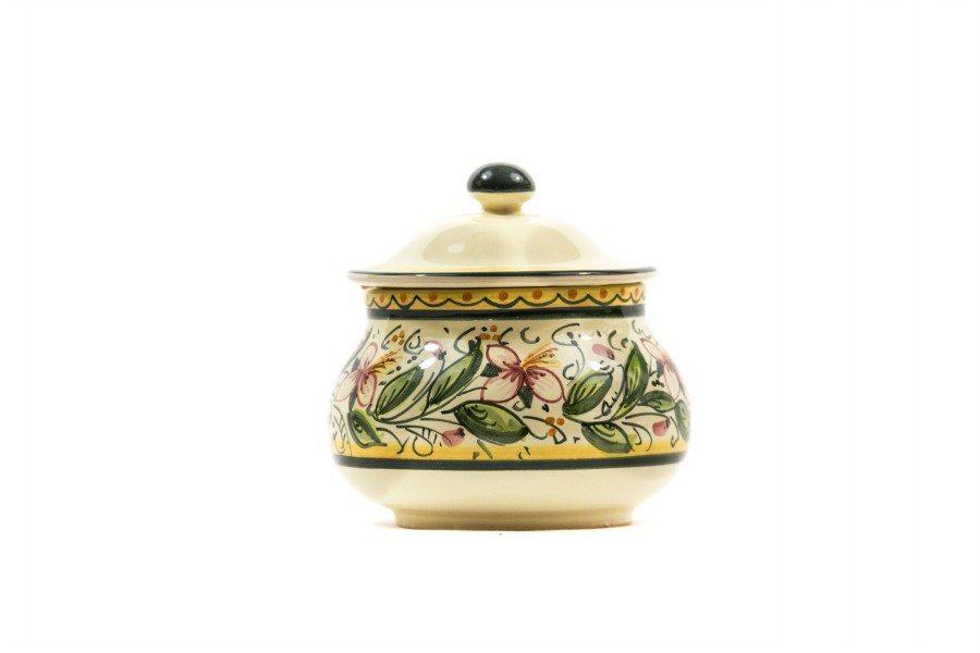 Barattolo in ceramica italiana perpeperoncino, realizzato e decorato a mano con decoro orchidea, Ceramiche Liberati, Abruzzo, Italia.