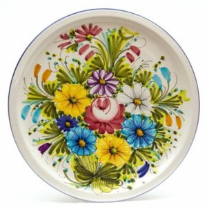 Piatto in ceramica per torta, fioraccio, Ceramiche Liberati
