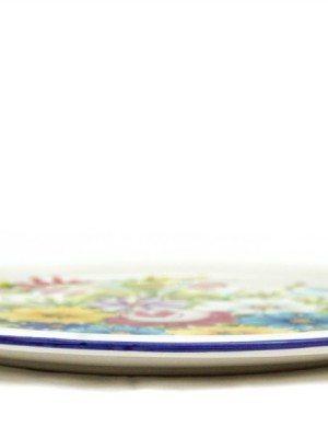 Piatto torta o vassoio in ceramica, fioraccio, Ceramiche Liberati