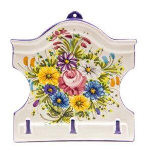Appendino in ceramica a casetta, tre ganci, fioraccio, Ceramiche LIberati