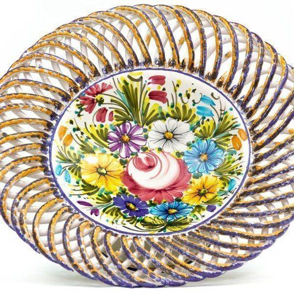 Centrotavola in ceramica con piede, fioraccio, Ceramiche Liberati