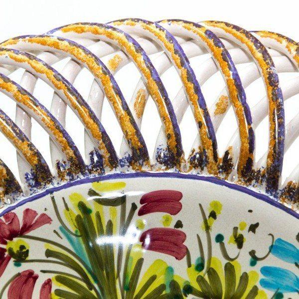 Centrotavola o fruttiera in ceramica, fioraccio, Ceramiche Liberati