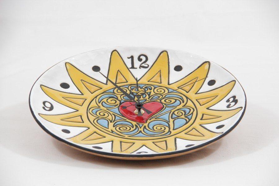 Orologio da muro in ceramica fenice, presentosa, Ceramiche Liberati