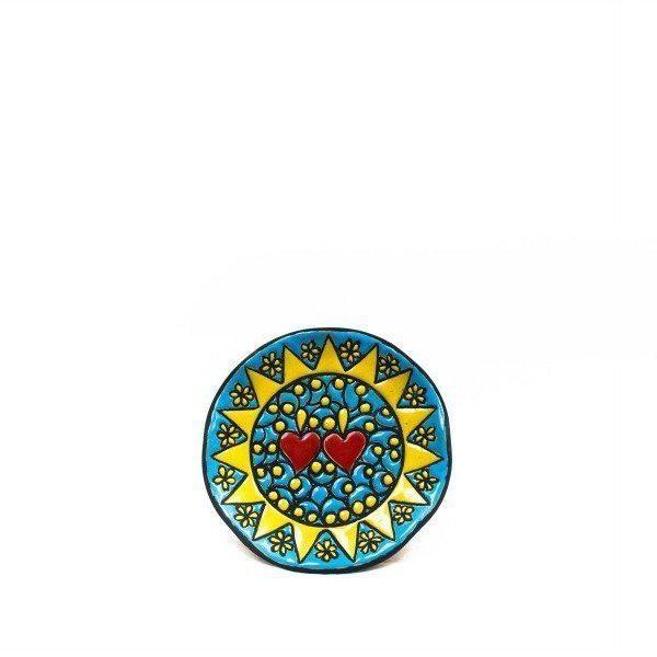 Piatto da muro decoro Presentosa turchese D12, Ceramiche Liberati