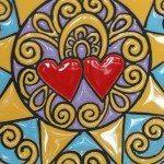 Piatto in ceramica da muro, decoro Presentosa, due cuori, Ceramiche Liberati