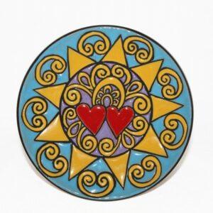 Piatto da muro Presentosa abruzzese , cuerda seca, Ceramiche Liberati