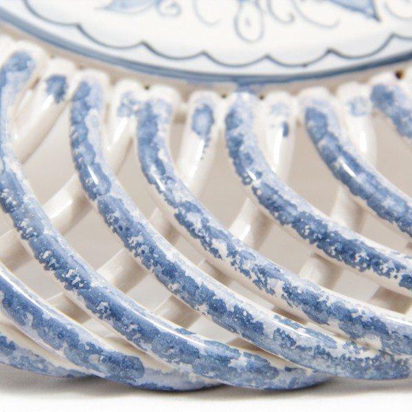 Futtiera in ceramica, intreccio e piede, teate, Ceramiche Liberati