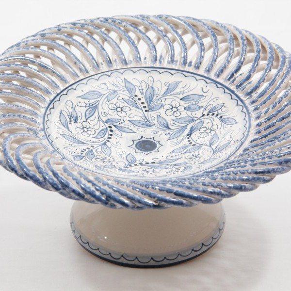Centrotavola in ceramica, intreccio e piede, teate, Ceramiche Liberati