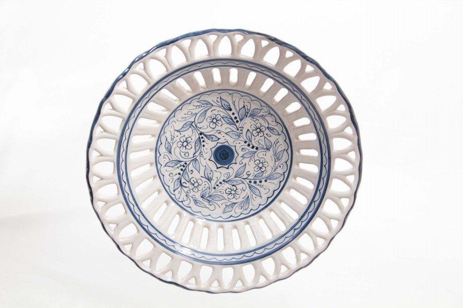 Ceramic fruit bowl, Rapino fretwork, teate Ceramiche Liberati