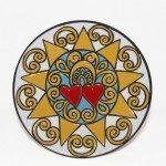 Piatto da muro decoro Presentosa abruzzese, cuerda seca, Ceramiche Liberati